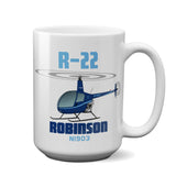 Robinson R22 (Blue) Helicopter Ceramic Mug - Personalized w/ N#