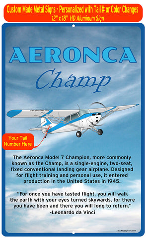Aeronca 7AC Champion (Blue #3) HD Airplane Sign