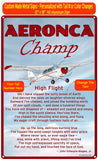 Aeronca Champ (Red #3) High Flight HD Airplane Sign