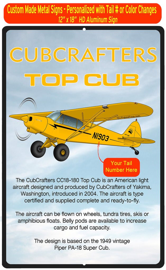 CubCrafters CC18-180 Top Cub (Yellow #2) HD Airplane Sign