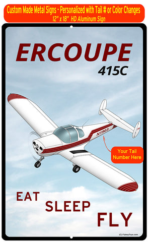 Erco Ercoupe 415C (Red #3) HD Airplane Sign