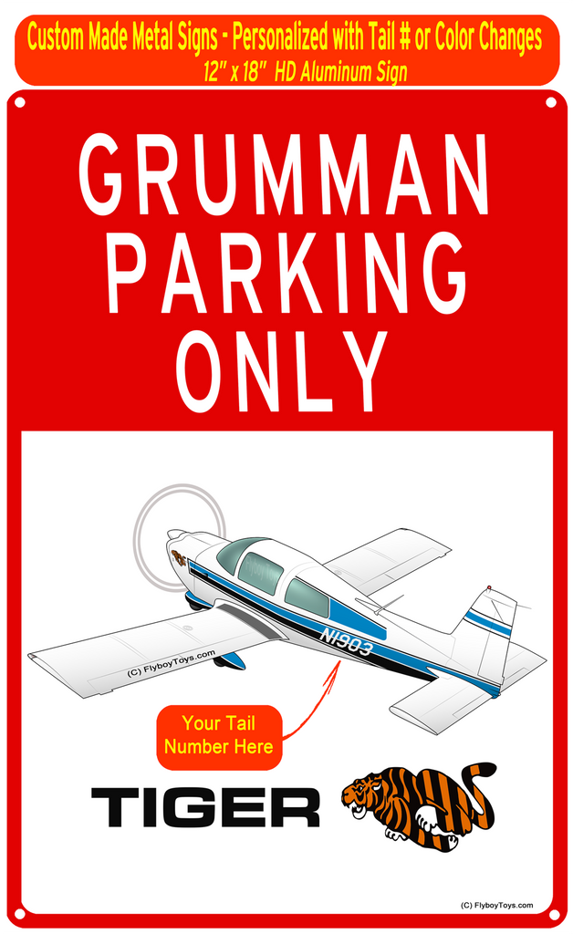 Grumman Tiger (Blue/Black) HD Airplane Parking Sign