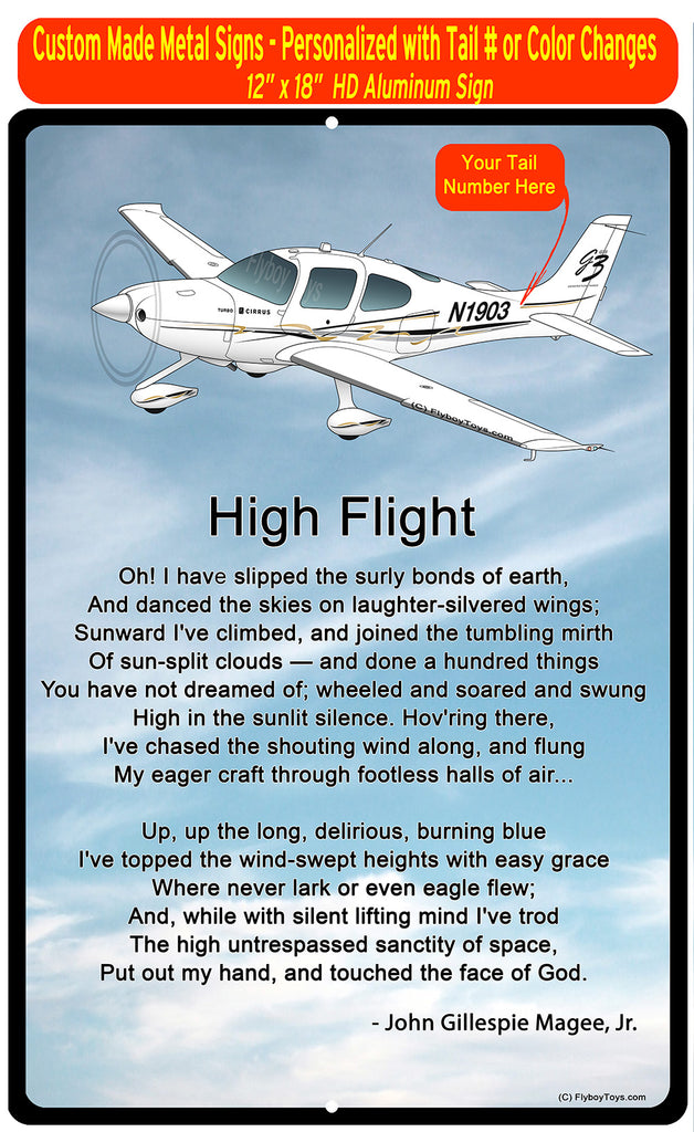 High Flight HD Airplane SIGN-HIGHFLIGHT-AIR39ISR22-SBG2 - Personalized with Your N#