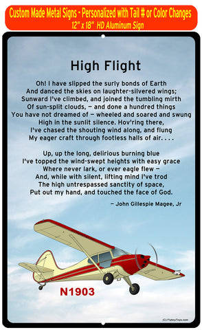 Aeronca High Flight HD Airplane Sign - Personalized w/ your N#