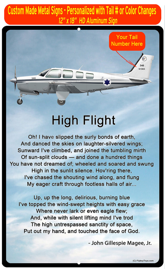 High Flight HD Airplane SIGN-HIGHFLIGHT-HRAIR2552FE - Personalized with Your N#