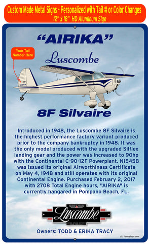 Luscombe 8F Silvaire (Cream/Blue) HD Airplane Sign
