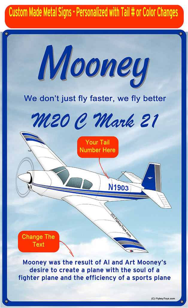 Mooney M20 / M20C (Blue/Silver#2) HD Airplane Sign