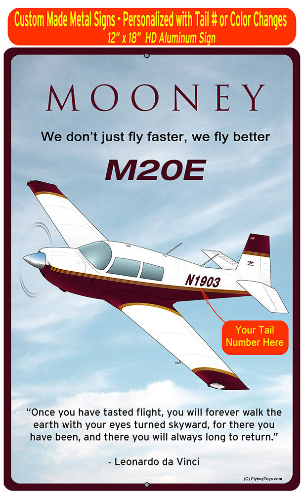 Mooney M20E (Red/Yellow) HD Airplane Sign
