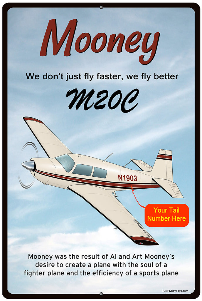 Mooney M20 / M20C (Cream/Red/Black) HD Airplane Sign