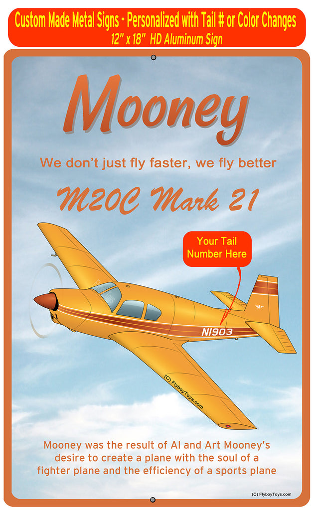 Mooney M20 / M20C (Yellow/Brown) HD Airplane Sign