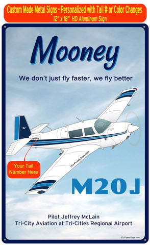 Mooney M20J / 201 (Blue #2) HD Airplane Sign