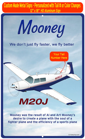 Mooney M20J / 201 (Blue/Tan/Red) HD Airplane Sign