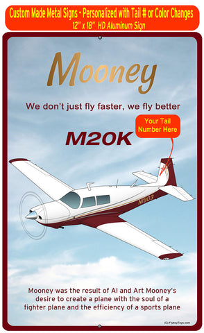 Mooney M20K (Maroon #2) HD Airplane Sign
