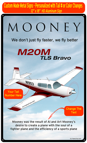 Mooney M20M TLS Bravo (Maroon) HD Airplane Sign