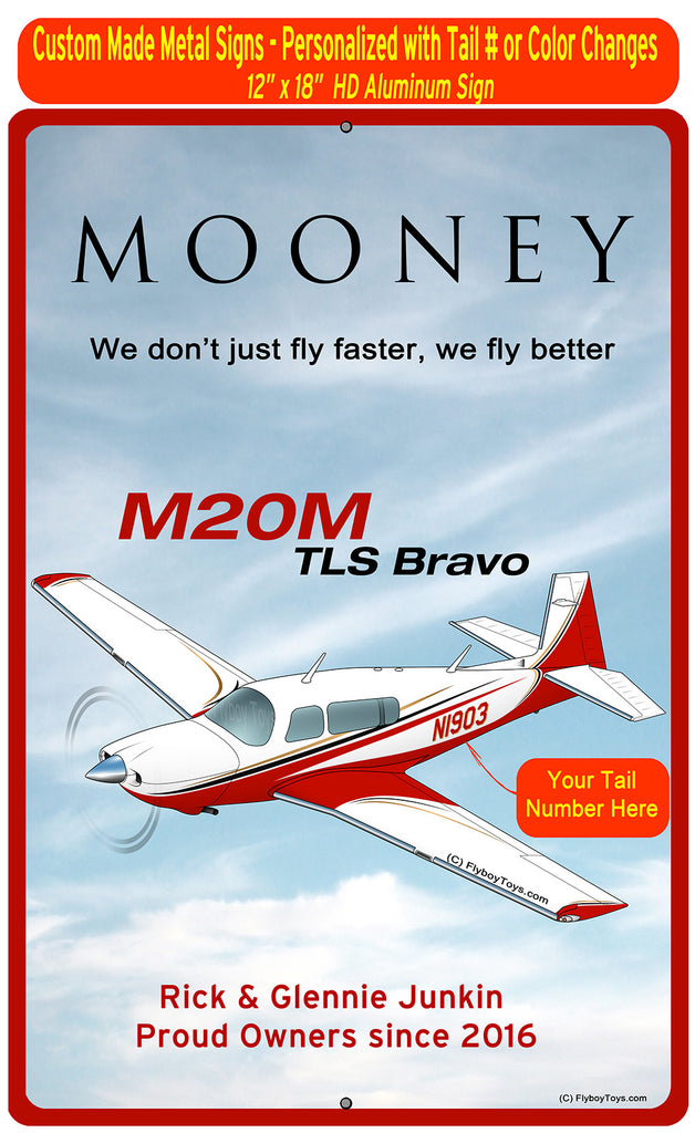 Mooney M20M TLS Bravo (Red/Black) HD Airplane Sign
