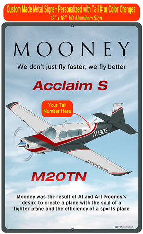 Mooney M20TN (Red/Grey) HD Airplane Sign