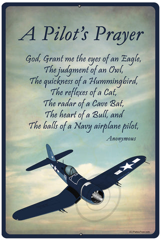 A Pilot's Prayer Airplane HD Metal Sign - SIGN-PILOTSPRAYER_VOUGHTF4UCORSAIR-B2