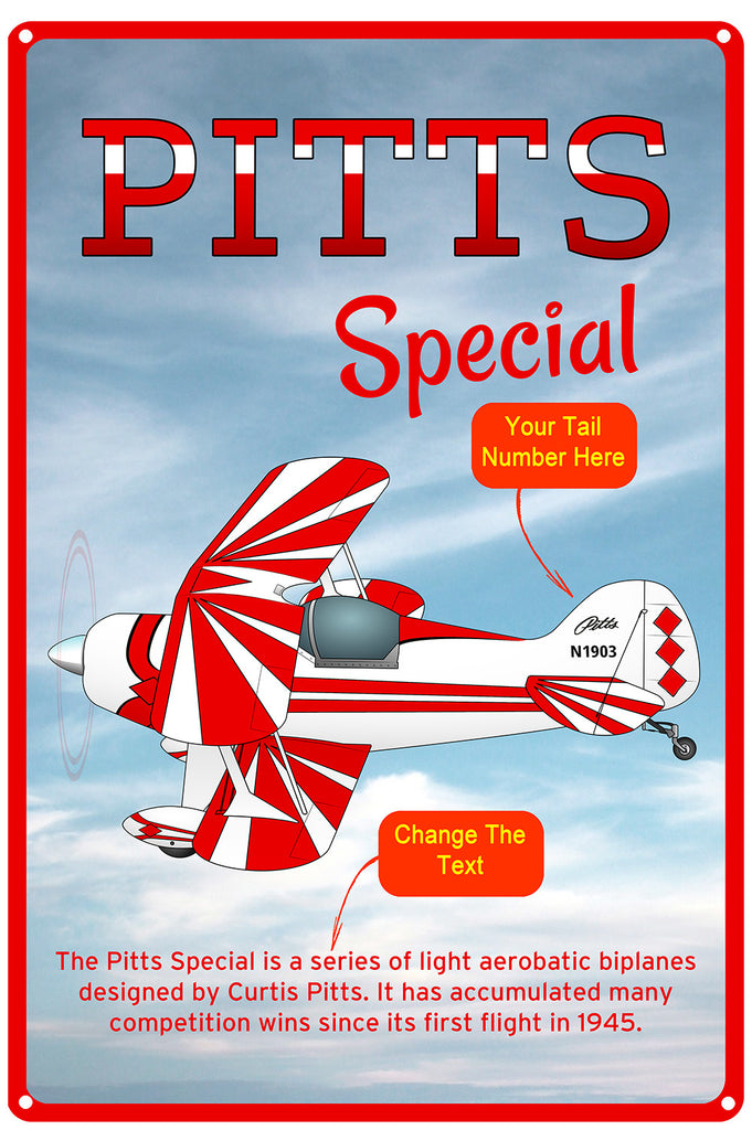 Pitts Special (Red #4) HD Airplane Sign