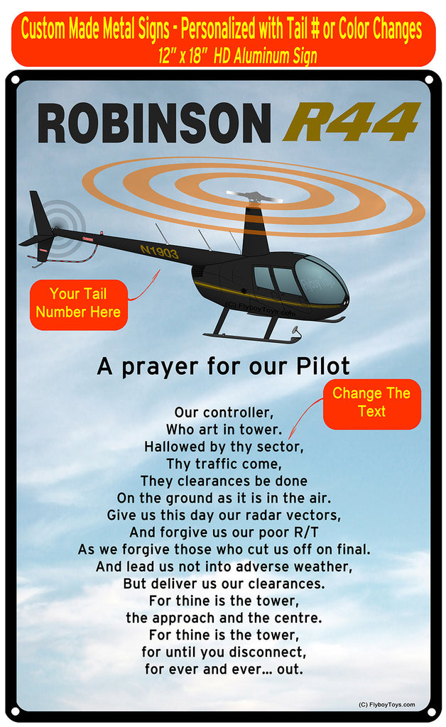 Robinson R44 (Black/Yellow) HD Helicopter Sign - A Prayer for our Pilot