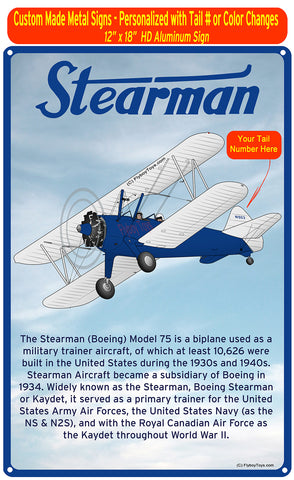 Stearman FSX1 (Blue) HD Airplane Sign