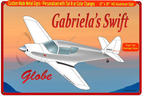 1946 Globe/Temco Swift GC-1B (Silver) Custom HD Airplane Horizontal Sign