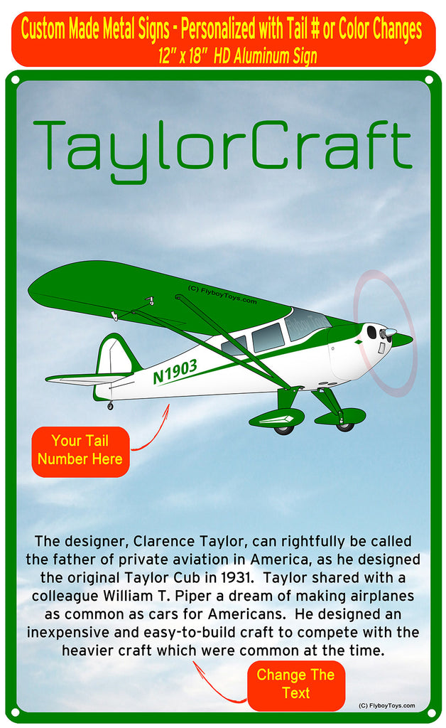 Taylorcraft F-21B (Green) HD Airplane Sign