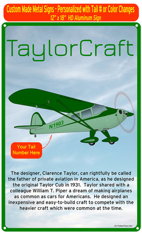 Taylorcraft F-21B (Green #2) HD Airplane Sign