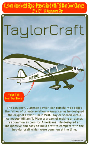 Taylorcraft F-21B (Green #3) HD Airplane Sign
