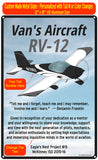 Van's Aircraft RV-12 (RV12) HD Airplane Sign - Black/White