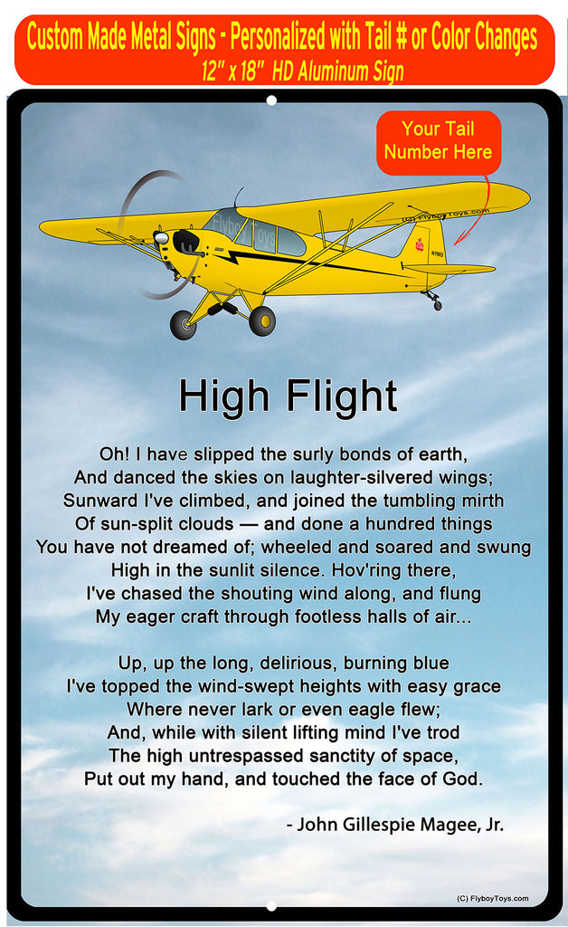 High Flight HD Airplane SIGN-HIGHFLIGHT-AIRG9G3L2J3-Y2 - Personalized with your N#