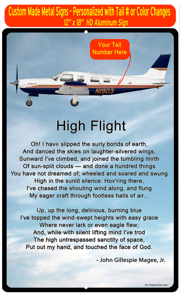 High Flight HD Airplane SIGN-HIGHFLIGHT-HRAIRG9GPA32R - Personalized with Your N#