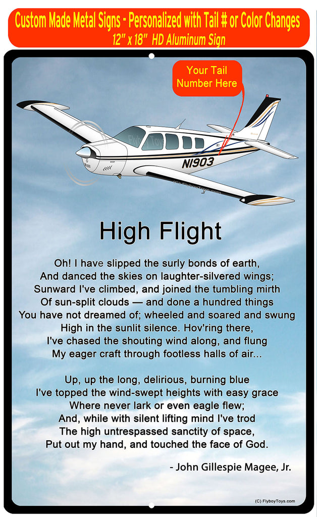 High Flight HD Airplane SIGN-HIGHFLIGHT-AIR2552FEA36-BLK1- Personalized with Your N#