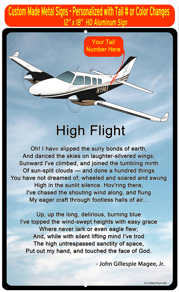 High Flight HD Airplane SIGN-HIGHFLIGHT-AIR25521I-BT1 - Personalized with Your N#