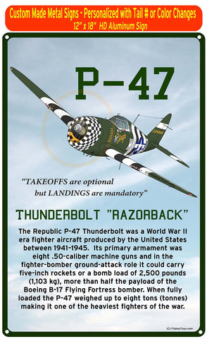 Republic P-47 Thunderbolt HD Airplane Sign