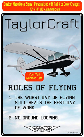 Taylorcraft BC-12D (Silver/Black) HD Airplane Sign