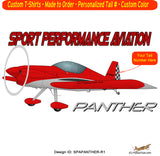 Sport Performance Aviation Panther Airplane T-shirt - Personalized with N#