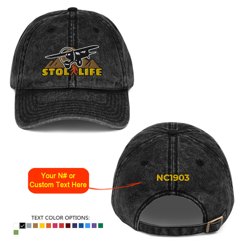 STOL LIFE Airplane Embroidered Vintage Cap - Personalized with Your N#