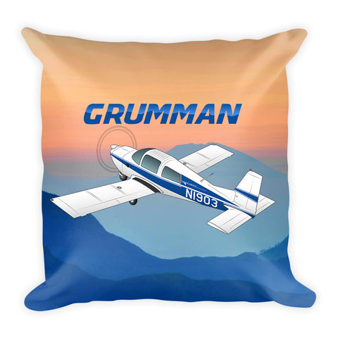 Grumman American AA-5 Traveler Airplane Throw Pillow Stuffed & Sewn