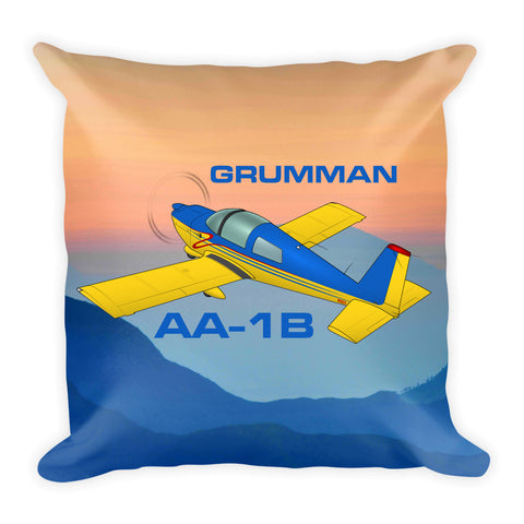 Grumman American AA-1B Trainer Airplane Throw Pillow Stuffed & Sewn