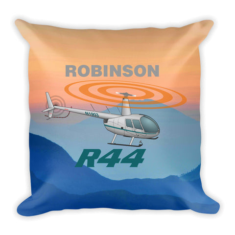 Robinson R44 Airplane Throw Pillow Case Stuffed & Sewn