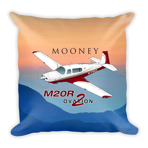 Mooney M20R Ovation 2 Airplane Custom Throw Pillow Case Stuffed & Sewn