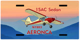 Aeronca 15AC Sedan Airplane License Metal Plate - Add Your N#