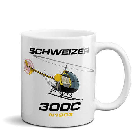 Schweizer 300 CBI (Yellow/Black) Airplane Ceramic Mug - Personalized w/ N#