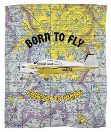 Custom Airport Maps Fleece Blankets - Customize w/ your Airplane & N#