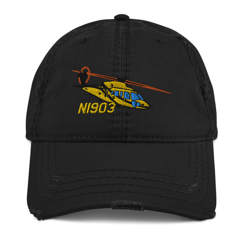 Helicopter Embroidered Distressed Cap HELIJ9BS76-YB1 - Personalized w/ Your N#