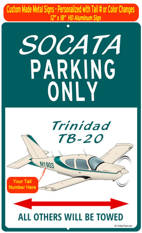 Socata Trinidad TB20 (Teal) HD Airplane Sign