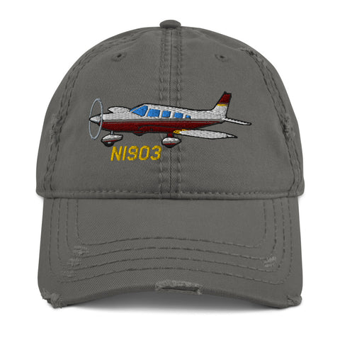 Airplane Embroidered Distressed Cap (AIRG9G3856-RO1) - Personalized with Your N#