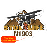 STOL Life Airplane Die Cut Vinyl Decals (Stickers) - Personalized w/ your N#
