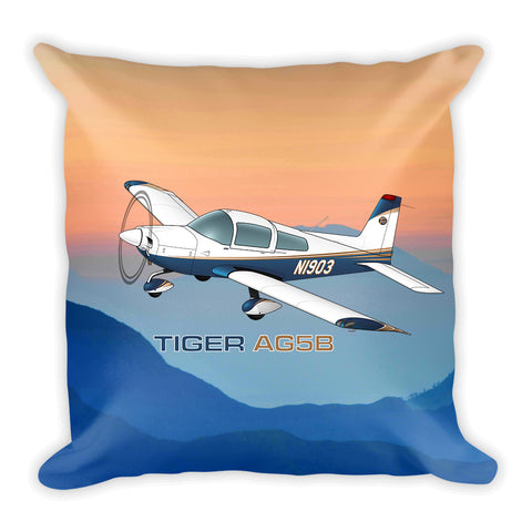 Tiger Aircraft AG5B Airplane Custom Throw Pillow Case Stuffed & Sewn