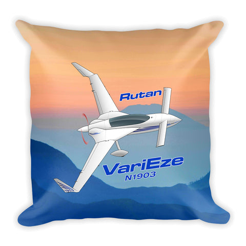Rutan VariEze Airplane Custom Throw Pillow Case Stuffed & Sewn